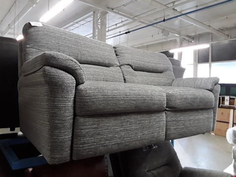 Lot 1005 QUALITY BRITISH MADE, HARDWOOD FRAMED GREY WEAVE FABRIC 3 SEATER SOFA AND POWER RECLINING ARMCHAIR