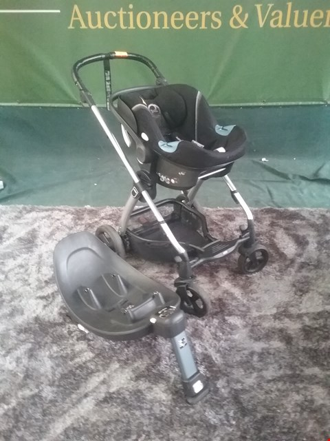 Lot 60 MAMAS AND PAPAS TOUR 3 PRAM FRAME WITH CYBEX CAR SEAT AND ATON Q RRP £284.00
