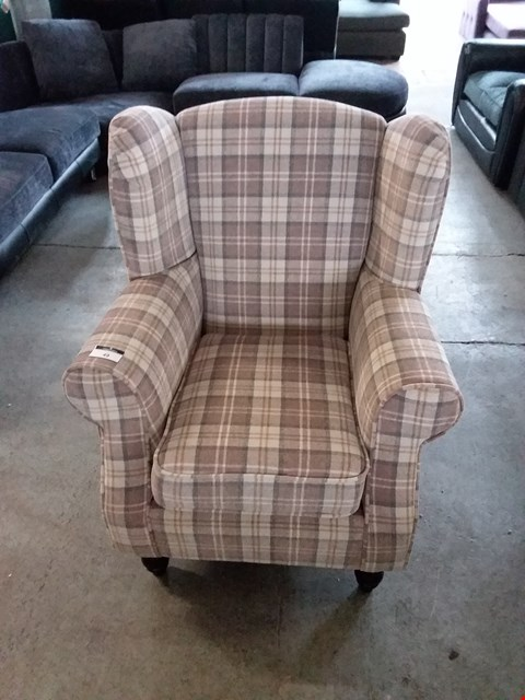 Lot 49 DESIGNER GREY TARTAN WING BACK CHAIR