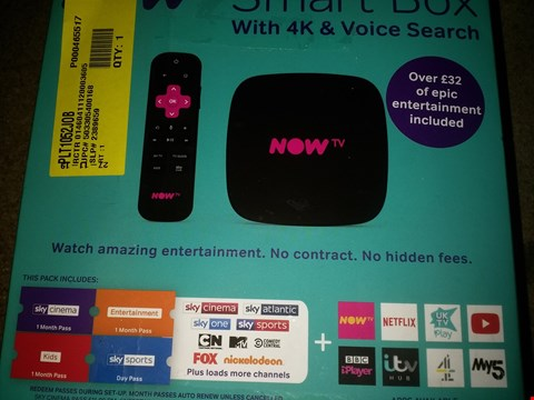Lot 1154 NOW TV SMART BOX WITH 4K & VOICE SEARCH