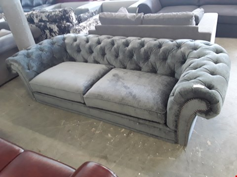 Lot 59 DESIGNER CHARCOAL VELOUR EFFECT CHESTERFIELD STYLE 3 SEATER SOFA