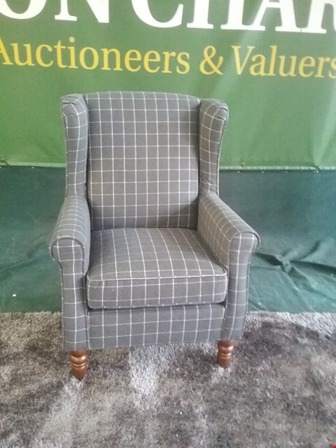 Lot 43 DESIGNER OSWALD GREY WINDOW PANE CHECK FABRIC WING BACK ARM CHAIR