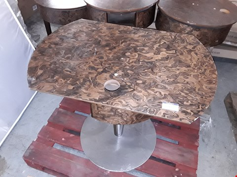 Lot 1047 DESIGNER DECO INFLUENCED WALNUT VENEER TABLE WITH ROTATING TOP