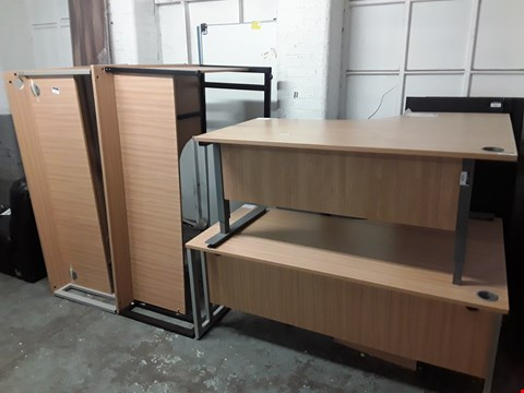 Lot 7096 FOUR ASSORTED WOOD-EFFECT CORNER OFFICE DESKS AND A THREE-DRAWER CABINET
