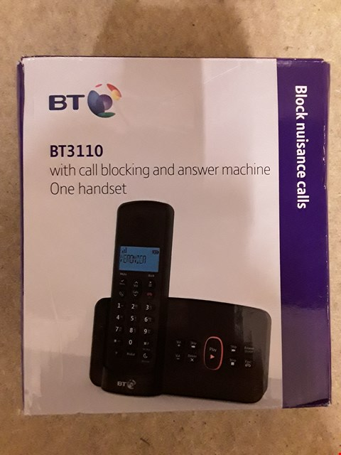 Lot 2501 BT BT3110 CORDLESS DIGITAL TELEPHONE WITH CALL BLOCKING AND ANSWER MACHINE ONE HANDSET RRP £39.99