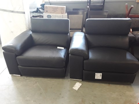 Lot 339 TWO DESIGNER BLACK FAUX LEATHER POWER RECLINING SOFA SECTIONS