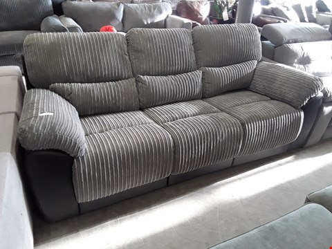 Lot 73 DESIGNER SIENNA BLACK FAUX LEATHER & GREY JUMBO CHORD MANUAL RECLINING THREE SEATER SOFA