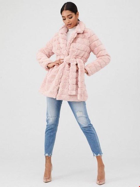 Lot 3680 BRAND NEW IN THE STYLE PINK FUR TIE WAIST COAT SIZE 16