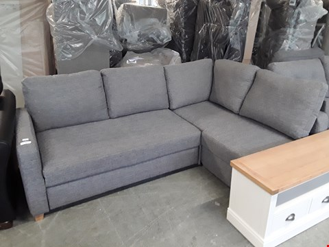 Lot 20 QUALITY BRITISH DESIGNER GREY WEAVE FABRIC CORNER SOFA WITH PULL OUT DAY BED