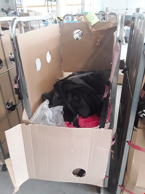 Lot 191 CAGE OF ASSORTED CLOTHING ITEMS TO INCLUDE: GAME OF THRONES STARK JACKET, SEQUIN DRESS, TSHIRTS ETC