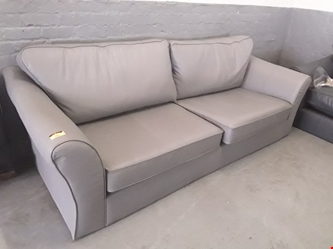 Lot 141 QUALITY BRITISH DESIGNER GREY LEATHER THREE & TWO SEATER SOFAS