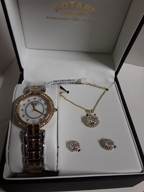 Lot 158 ROTARY MOTHER OF PEARL DIAL TWO TONE STRAP WATCH WITH ACCOMPANYING NECKLACE AND EARRINGS  RRP £319