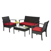 Lot 52 BOXED BLACK AND GREY 4-PIECE RATTAN-EFFECT LOUNGE SET.