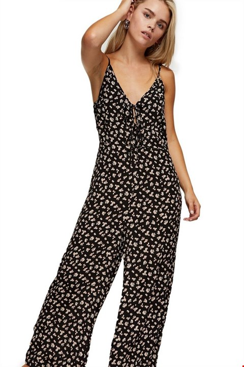 Lot 3733 BRAND NEW TOPSHOP PETITE TIE FRONT FLORAL JUMPSUIT BLACK AND PINK SIZE 8 RRP £59.00