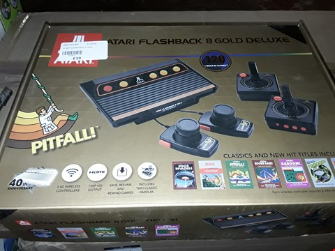 Lot 20 ATARI FLASHBACK 8 GOLD  DELUXE 2.4G WIRELESS CONTROLLERS, 720P HD OUTPUT, SAVE, RESUME AND REWIND GAMES INCLUDES TWO CLASSIC PADDLES 120 BUILT IN GAMES   RRP £83.00
