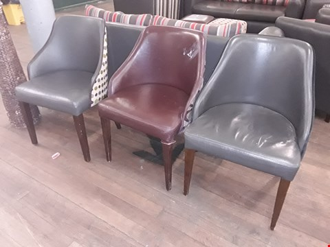 Lot 66 3 X ASSORTED LEATHER CHAIRS WITH FABRIC BACK