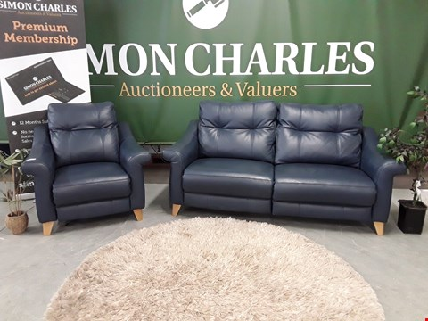 Lot 3021 QUALITY BRITISH MADE, HARDWOOD FRAMED BLUE LEATHER POWER RECLINING 3 SEATER SOFA AND ARMCHAIR