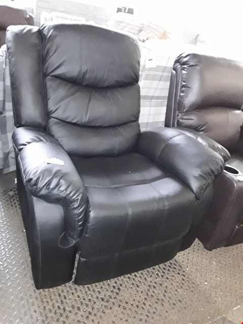 Lot 79 DESIGNER SEATTLE BLACK LEATHER MANUAL RECLINING EASY CHAIR RRP £350