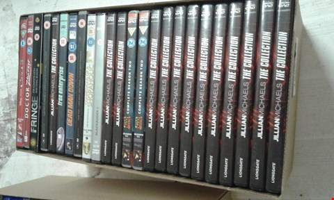 Lot 15697 A BOX OF ASSORTED DVDS TO INCLUDE JILLIAN MICHAELS THE COLLECTION AND DEAD MAN DOWN DVD