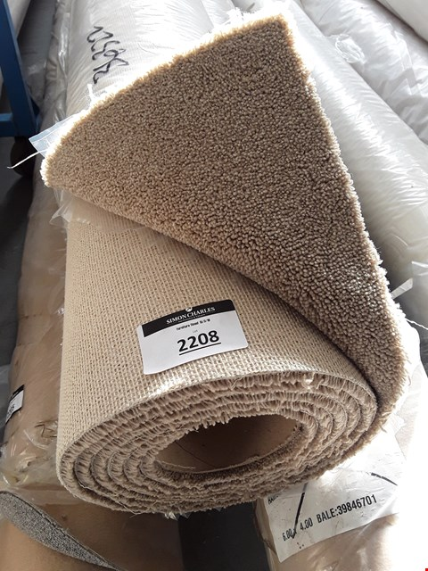 Lot 2208 ROLLED VARIETY TRIALS BEIGE CARPET - MEASURES APPROXIMATELY 3.3 X 4M
