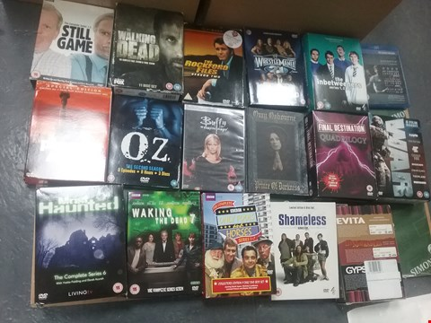 Lot 12072 A BOX OF APPROXIMATELY 25 ASSORTED DVD/BOXSETS TO INCLUDE A STILL GAME DVD AND MOST HAUNTED COMPLETE SERIES 6