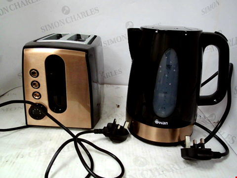 Lot 10080 SWAN 1.7L KETTLE AND 2 SLICE TOASTER SET IN BLACK/COPPER RRP £52.99