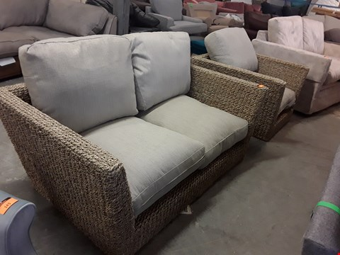 Lot 142 QUALITY BRITISH DESIGNER WICKER EFFECT AND NATURAL FABRIC 2 SEATER SOFA AND ARMCHAIR