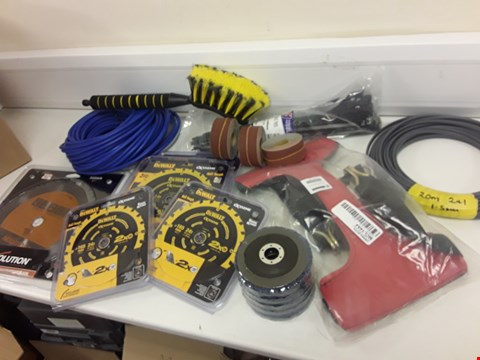 Lot 434 BOX APPROXIMATELY 15 TOOL PARTS, INCLUDINB, 5 × DEWALT EXTREME SAW BLADES, EVOLUTION CIRCULAR SAW BLADE, WARRIOR WHEEL TIE DOWN STRAP, 2 × ROLLS ELECTRIC CABLE, ANGLE GRINDER DISKS, CABLE TIES,