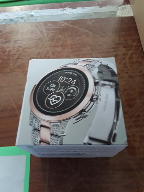 Lot 40 MICHAEL KORS ACCESS FULL DISPLAY AND ROSE GOLD DETAIL DIAL TWO TONE STAINLESS STEEL BRACELET SMART WATCH RRP £389