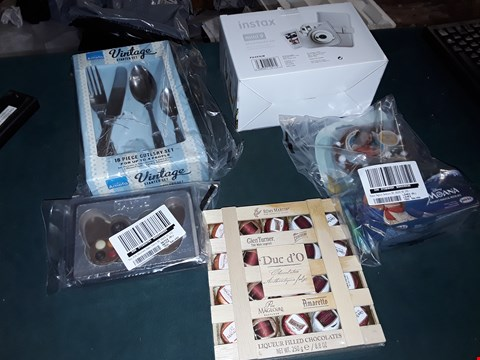 Lot 1792 BOX OF APPROXIMATELY 20 ASSORTED GRADE 1 ITEMS TO INCLUDE FUJIFILM INSTAX MINI 9 ACCESSORY KIT, VINTAGE CUTLERY SET , MOANA MAGICAL NECKLACE AND LIQUEUR FILLED CHOCOLATES  RRP £460