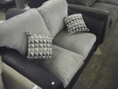 Lot 88 DESIGNER GREY FABRIC 2 SEATER SOFA WITH CUSHIONS