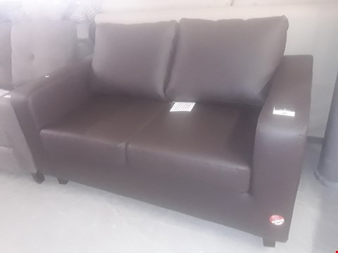 Lot 37 DESIGNER MAX BROWN FAUX LEATHER TWO SEATER SOFA