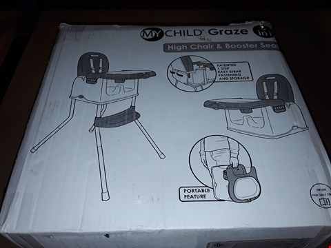 Lot 319 MY CHILD GRAZE 3 IN 1 HIGH CHAIR AND BOOSTER SEAT  RRP £49.99