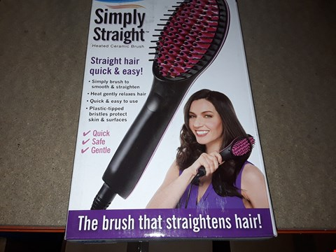 Lot 2105 BOX OF APPROXIMATELY 34 BRAND NEW SIMPLY STRAIGHT HEATED CERAMIC BRUSH