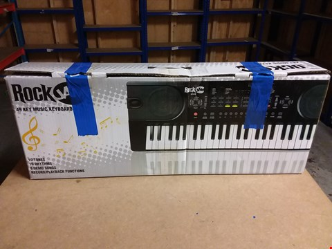 Lot 929 ROCKJAM 49-KEY PORTABLE DIGITAL PIANO KEYBOARD WITH MUSIC STAND, POWER SUPPLY AND NOTE KEY STICKERS