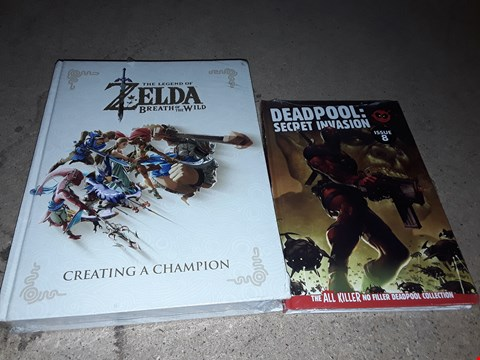 Lot 143 LOT OF 2 ASSORTED BOOKS TO INCLUDE THE LEGEND OF ZELDA BREATH OF THE WILD CREATING A CHAMPION AND DEADPOOL SECRET INVASION