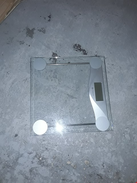 Lot 5210 ETEKCITY SCALES DIGITAL WEIGHING BATHROOM SCALES HIGH PRECISION BODY WEIGHT SCALE WITH 8MM TEMPERED GLASS, BODY MEASURING TAPE, BACKLIGHT DISPLAY, 28ST/180KG/400LB