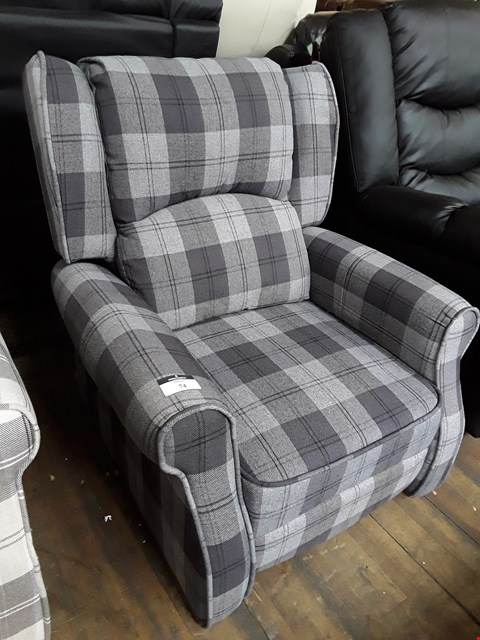 Lot 74 DESIGNER CHARCOAL CHECKED FABRIC PUSH BACK RECLINING EASY CHAIR RRP £379