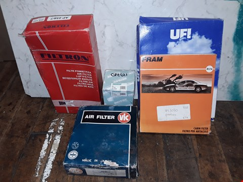 Lot 334 BOX OF ASSORTED CAR PARTS TO INCLUDE FILTON AIR FILTER, UFI AIR FILTER, REISSE OIL FILTER