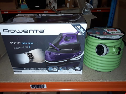 Lot 14071 LOT OF 2 ASSORTED ITEMS TO INCLUDE ROWENTA STEAM IRON AND 40M MAGIC HOSE