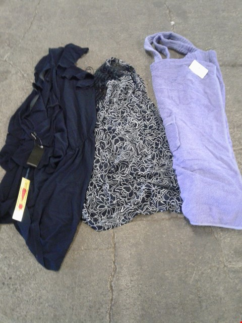 Lot 230 BOX OF APPROXIMATELY 25 CLOTHING ITEMS TO INCLUDE NAVY DRESS, PURPLE DRESSING GOWN AND BLACK/WHITE TRANSPARENT FLORAL PATTERN TOP - VARIOUS SIZES