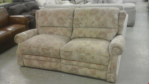 Lot 1242 DESIGNER BROWN FABRIC FLORAL PATTERNED RECLINING 3 SEATER SOFA