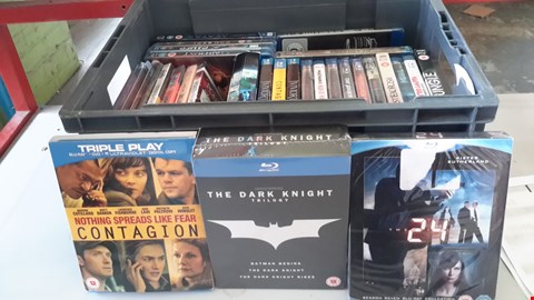 Lot 9035 BOX OF APPROXIMATELY 25 ASSORTED BLU RAY DISCS INCLUDING CONTAGION,  THE DARK KNIGHT TRILOGY AND 24 ETC