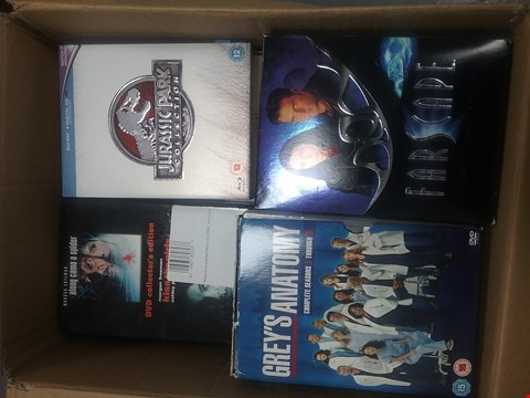 Lot 12036 A BOX OF APPROXIMATELY 25  ASSORTED DVD/BOXSETS TO INCLUDE FARSCAPE THE COMPLETE SERIES AND A JURASSIC PARK COLLECTION