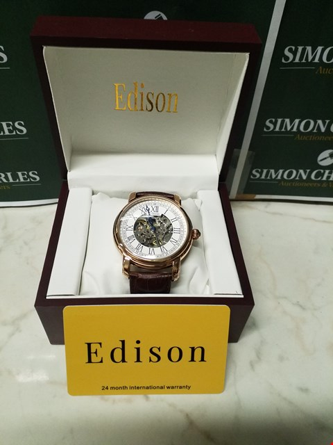 Lot 4552 EDISON ROMAN NUMERAL ROSE GOLD EFFECT DIAL SKELETON WATCH WITH LEATHER BROWN WATCH
