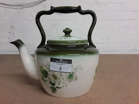 Lot 2 DESIGNER BLACKENEY LARGE POTTERY TEAPOT WITH GREEN FLORAL DECORATION