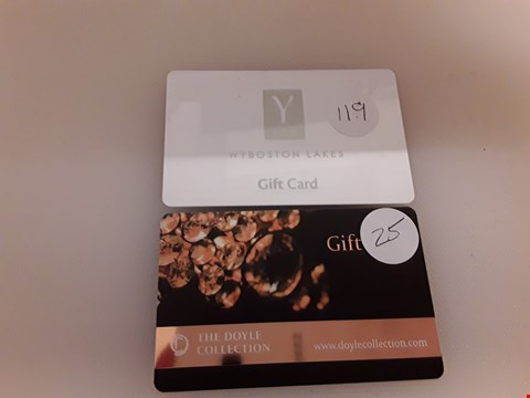 Lot 51 2 ASSORTED GIFT CARDS TO INCLUDE WYBOSTON LAKES Y SPA AND THE DOYKE COLLECTION TOTAL VALUE £144