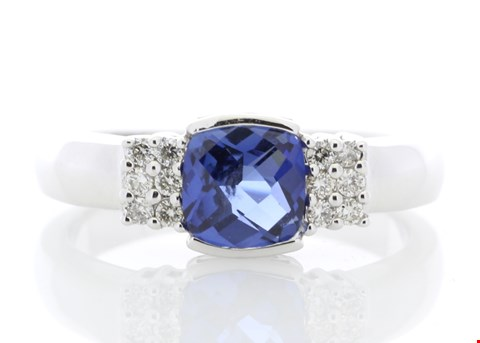Lot 14 9ct WHITE GOLD CREATED CEYLON SAPPHIRE (1.37ct)  DIAMOND RING (0.08ct) RRP £1710