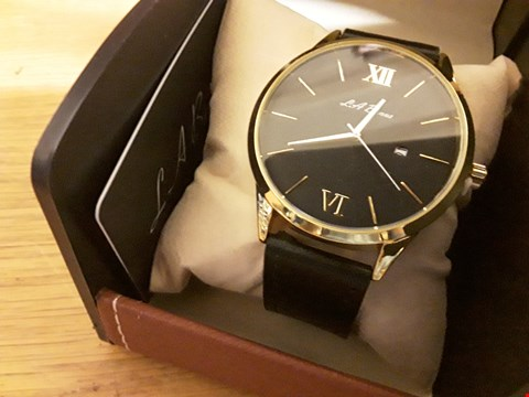 Lot 81 BOXED LA BANUS BLACK STRAP WRIST WATCH WITH BLACK FACE