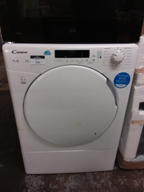 Lot 216 CANDY 9KG SMART TOUCH TUMBLE DRYER IN WHITE - CSV9DF80